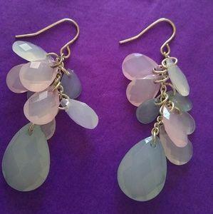 Ice Pink & Blue Plastic Statement Dangle Earrings